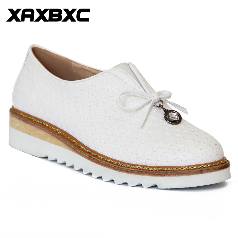 XAXBXC Retro British Style Leather Brogues Oxfords Flat Women Shoes Crystal Flat Platform Round Toe Handmade Casual Lady Shoes<br>
