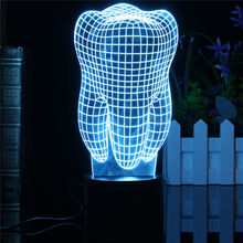 0.5W 3D Tooth LED RGB Touch Switch 7 Color Charging Night Light Desk Table Lamp Bedside Decor Light Christmas Gifts 5V