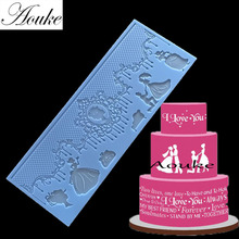 Aouke 1PCS  Lace Mat Moule Silicone Mold Cake Decorating Sugarcraft Fondant Flower Embossing Stamp Pastry tool Wedding K058