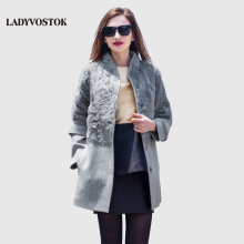 LADYVOSTOK Autumn winter long Woman coat wool Cashmere coat Removable sleeves Snap fastener Leisure Collar Real hair SF155(02)(China)