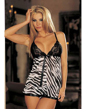 Women's Plus size Sexy Lingerie Sexy Babydoll Animal Print And Lace Babydoll (Zebra)  I2645