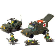 Sluban SUV Hummer jeep Military Series Toy Army Field ambulance Blocks Kids Gifts Best Friend  Sets
