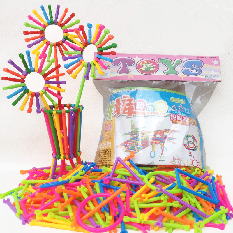 BD 256pcs Kids DIY Creative Intelligence Sticks Blocks Plastic Early Educational Magic Learning Building Blocks Toys Gift 9