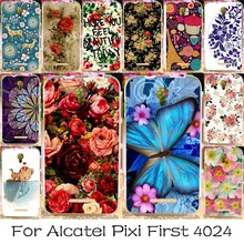 Soft TPU Silicone Phone Case For Alcatel OneTouch Pixi First 4024 4.0'' OT 4024D 4024X Covers Colorful Flower Rose Shell Housing