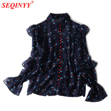 Buy Flowers Print Silk Shirt Women 2018 Spring Fashin New Long Flare Sleeve Nice Buttons Turn-Down Collar Vintage Wild Tiered shirt for $68.00 in AliExpress store