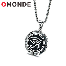 New Arrival Men Jewelry Ancient Egypt Sun God Horus Eye Pendant Necklace with Vintage Old Character Stainless Steel for Male(China)