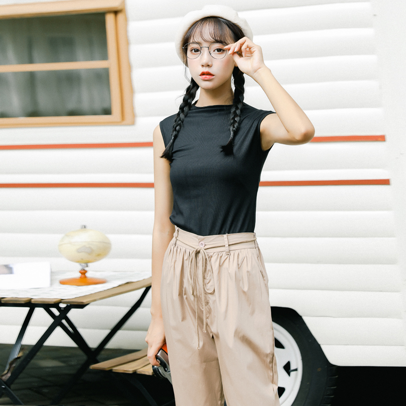 Pengpious summer new loose pants with knit top two pieces set women with waist string
