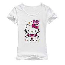 2017 cartoon anime cute Hello Kitty t shirt women summer kawaii fashion short sleeves print t-shirt popular shirt Brand tops A20(China)