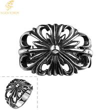 Free Shipping Fashion Jewelry 316L Stainless Steel new Design Hollow engraving Rings Men Punk Vintage Ring anel masculino R127