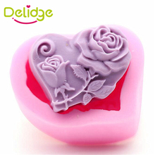 Delidge 1 pcs Heart Shape Rose Flower Soap Molds Silicone Sweet Heart Chocolate Molds DIY Handmade Soap Mould Cake Fondant Tools