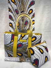 Fashion ankara materials african high quality cotton prints wax fabric with bag set for lady DF-002
