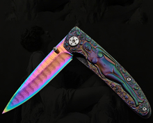Colorful Figures Relief Corrugated Steel Damascus Folding Knife Camping Survival Pocket Knife Tactical Hunting Knife EDC Tools