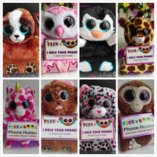 TY PEEK A BOOS 1PC 15CM BIG EYE ZELDA DOG Mobile Phone Holder PENNI PENGUIN ZELDA DOG POO PANDA PUPS DOG MILLY OWL LEOPARD(China)