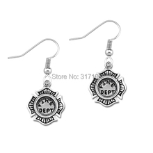 Lemegeton united ststes fire dept badge charm Dangle Earrings well selling(China)