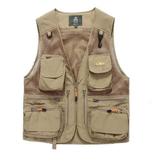 High quality Mesh quick-drying Waistcoat Men's Vest Jackets Photography Plus Size M-5XL