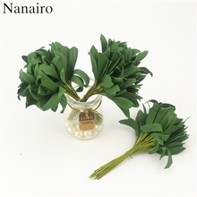 20pcs Green Christmas Pe Leaves Artificial Flower  For Wedding Decoration Garland Rose Leaf Decorative Craft Fake Flowers