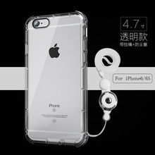 TPU Shockproof Silicone Phone Case For Fundas iPhone 6 6s Case Cover Luxury Transparent With Anti Dust Plug Lanyard Neck Strap