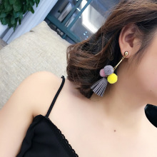 South Korea imported cloth hair ball earrings female long section tassel wild temperament sweet earrings Korean version