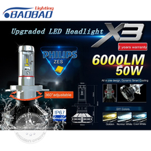 Top quality car led headlight kit X3 use Philips ZES Gen2 Chips 50W 6000LM 6500k 8000k car headlamp H4 H7 H11 9005 9006(China)