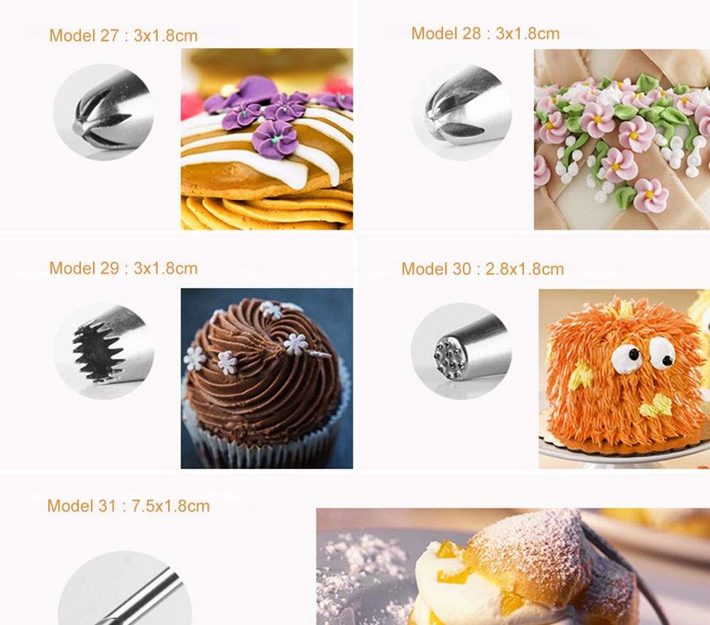 MAY FIFTEENTH Cake Decorating Tools 31pcs Pastry Bag Nozzles Piping Icing cream Piping Nozzle Pastry for Cake Cupcake Decoration (8)