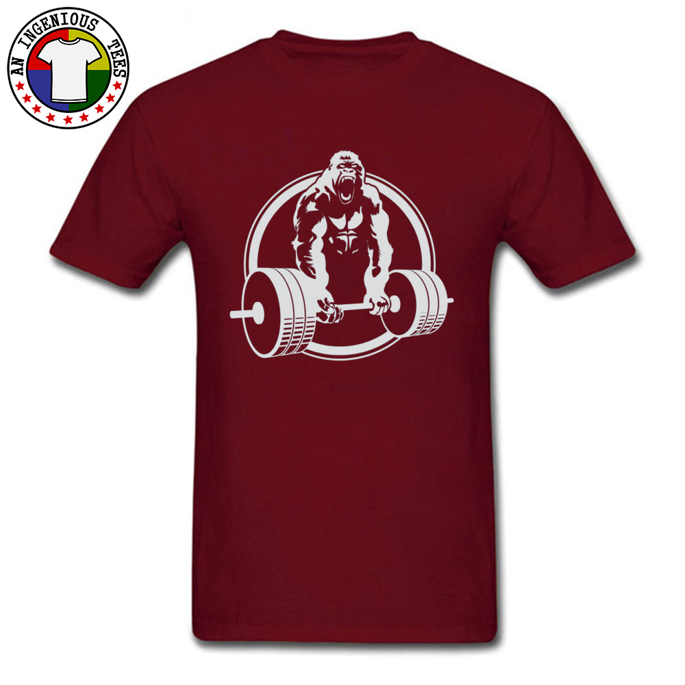 Casual Family Short Sleeve Printed T Shirts 100% Cotton O-Neck Men Tops & Tees Street Tshirts VALENTINE DAY Drop Shipping Gorilla Lifting Fitness Gym Tee 24451 maroon