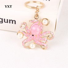 Pink Octopus Pearl Cute Crystal Rhinestone Charm Pendant Purse Bag Car Key Ring Keychain Jewelry Creative Gift Accessories