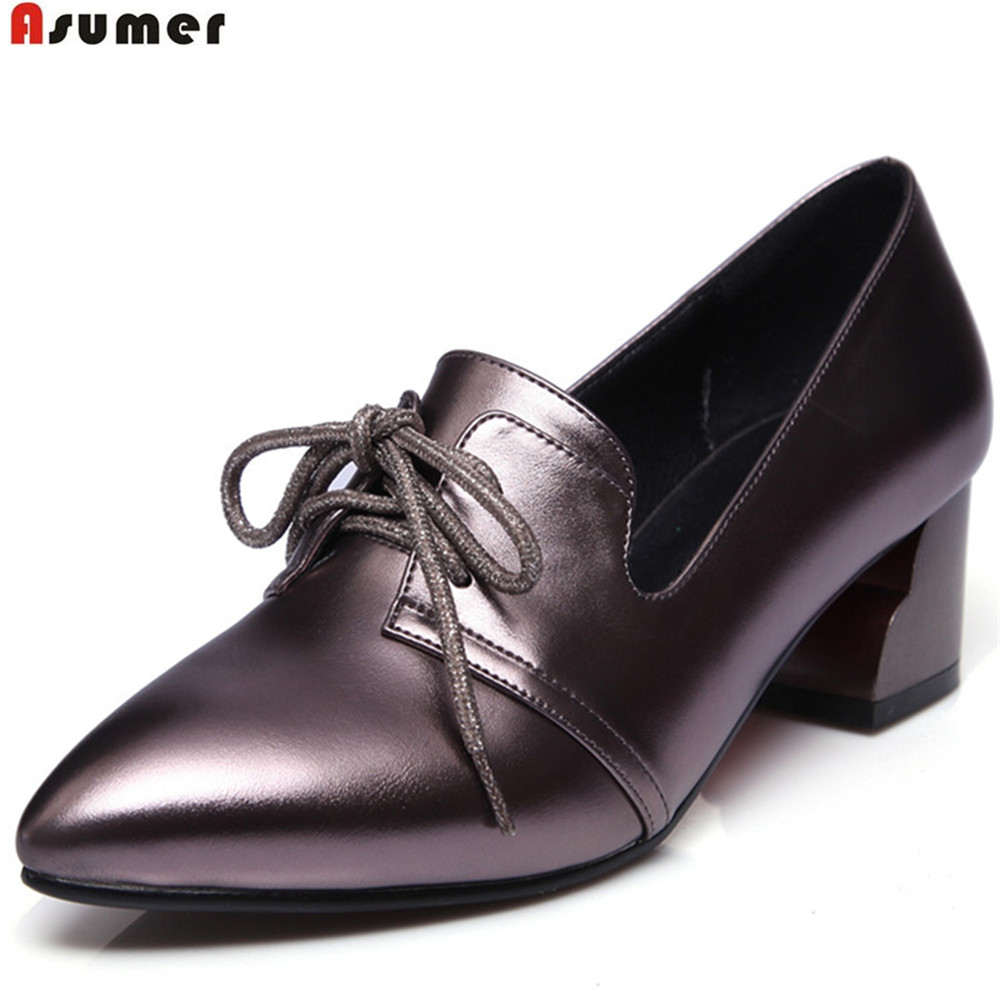 ASUMER black red fashion spring autumn ladies single shoes pointed toe square heel lace up women high heels shoes<br>