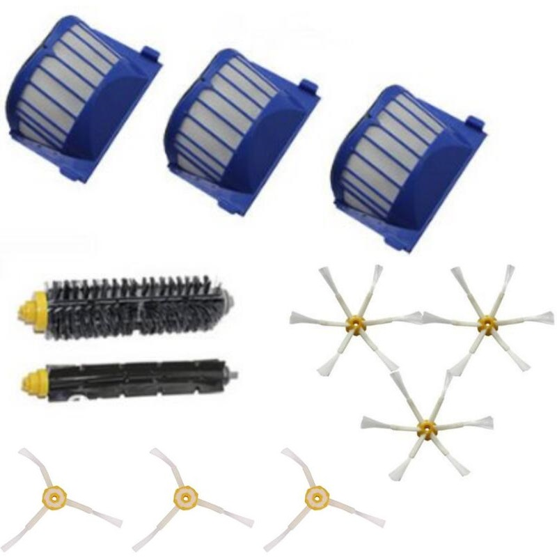 3 Blue AeroVac Filter + 1 set main Brush kit +6 side brush for iRobot Roomba 600 Series 620 630 650 660 Accessory<br><br>Aliexpress
