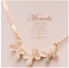 Na167 Opal crystal butterfly with female brief paragraph clavicle fashion short chain necklace Girl birthday gift