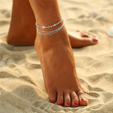 H:HYDE 1 PC Multi-layer Sexy Crystal Anklet Foot Chain Summer Bracelet Charm Anklets Beach Foot Wedding Jewelry Gift(China)