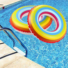 Swim Ring Water Pool Float Toys Inflatable Rainbow Kids Toy Party Decor(China)