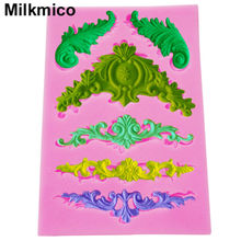 Milkmico M200 FDA European relief lace mold fondant cake molds chocolate mould for kitchen baking Silicone Decoration13*9*0.8cm
