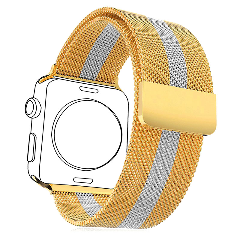 Watchbands For Applewatch 2 Milanese Loop Yellow Gold Plated Stainless Steel Two-Tone Band &amp; Watch Protective Case APB1757KB<br><br>Aliexpress