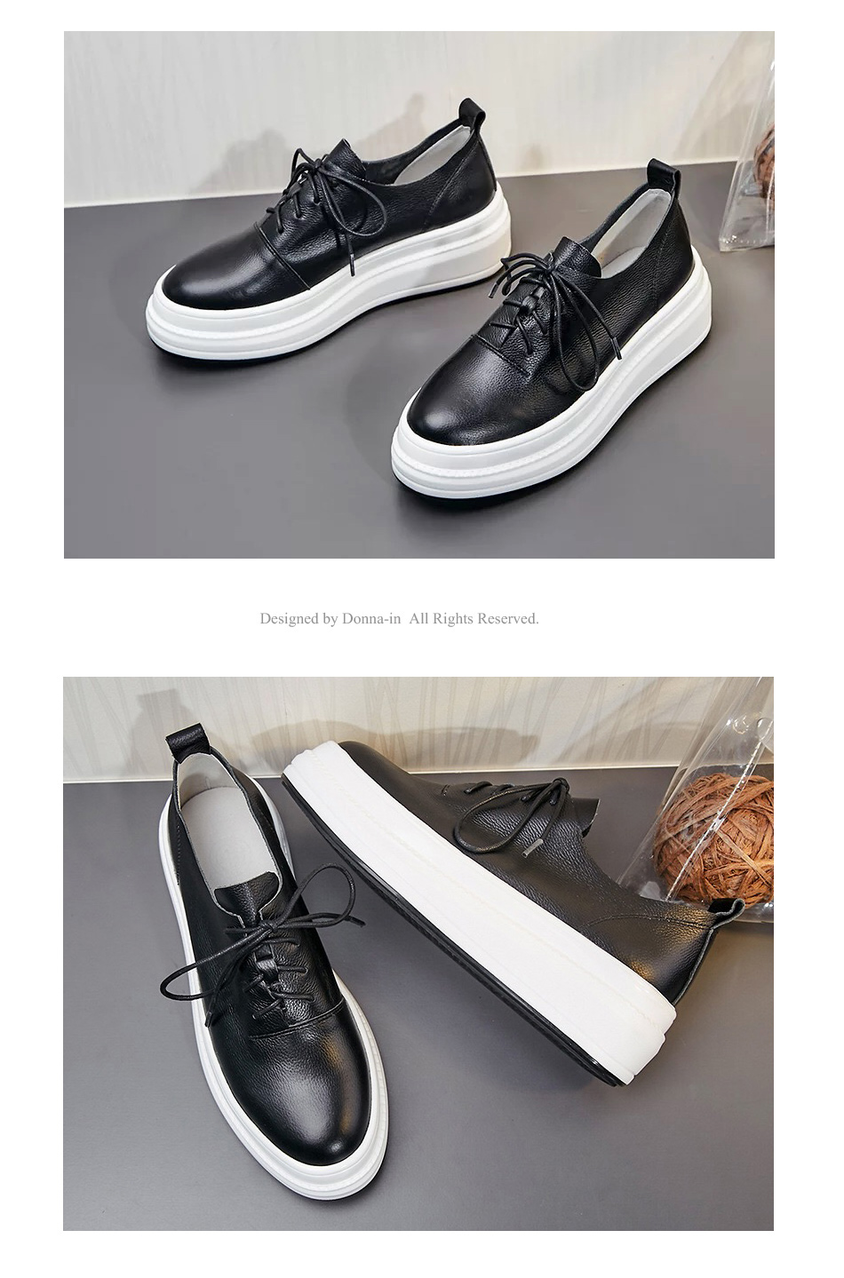 Donna-in Women Flats Shoes Platform Sneakers Shoes Genuine Leather Spring Fashion Sneakers Creepers Lace-up Comfortable Shoes (18)