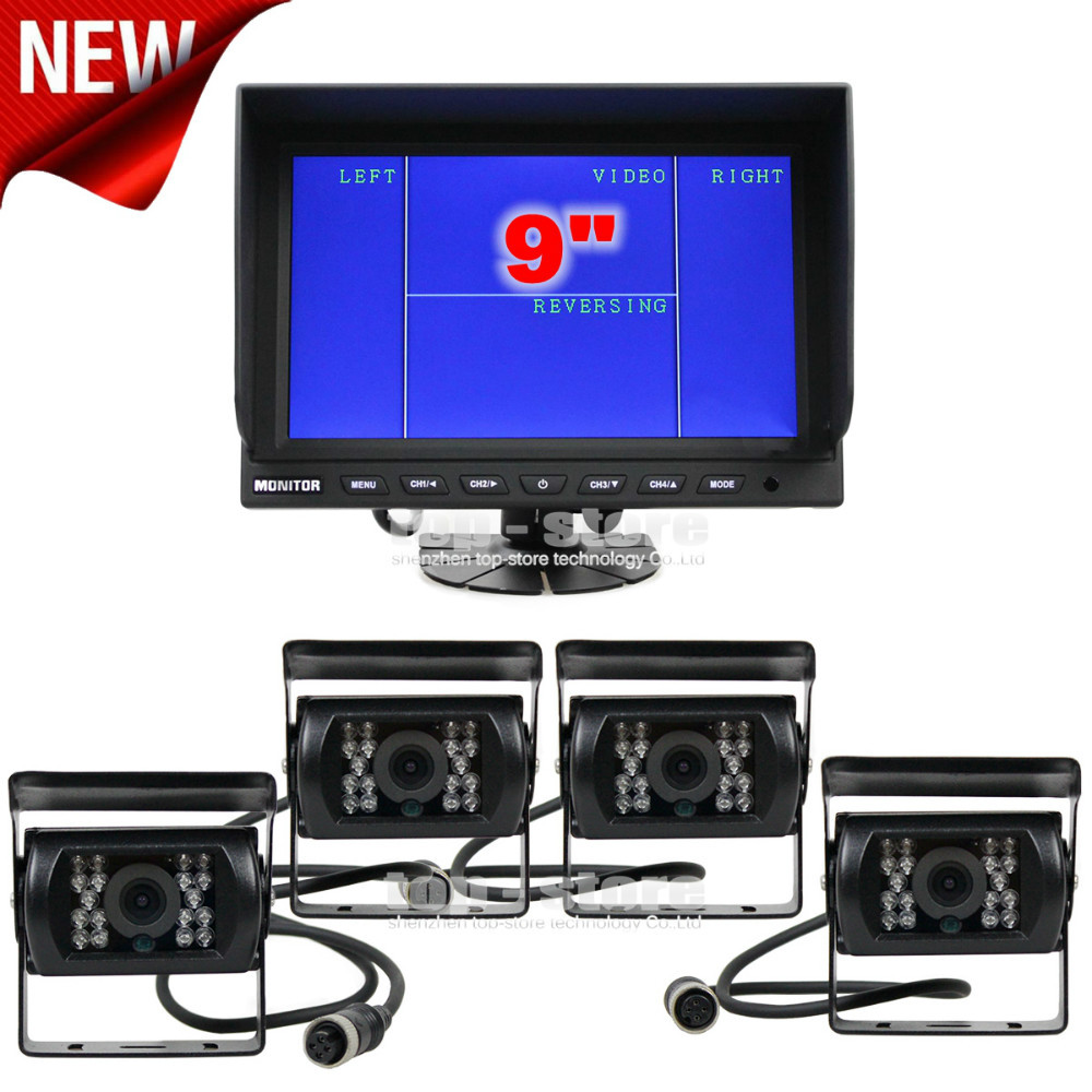 DIYSECUR 9 Inch Split QUAD Monitor + 4 x CCD IR Night Vision Rear View Camera Waterproof Monitoring System(China)