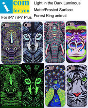 Tiger Lion Wolf Elephant Pug Leopard Owl gorilla Rabbit Cover Case For iPhone 7 Plus Light Glow in the Dark Night Luminous(China)