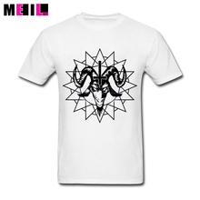 Big Size Satanic Goat Head With Chaos Star Funny Party Tee Shirts  White Short Sleeve Custom Design A Tee Shirt