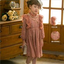 2016 autumn girls lace dress fashion Korea brand kids party dresses cute long sleeve girl fall dresses 3-8y costume for kids