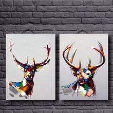 100% Hand Painted Group 2 Panels Modern Animal Beautiful Colorful Deer Heavy Texture Oil Painting on Canvas No Framed(China)