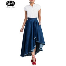 HongMiao 2017 New Summer Layers Ruffle Denim Skirt Womens Bodycon Long Skirts Asymmetrical Causal Streetwear Jeans Midi Skirts