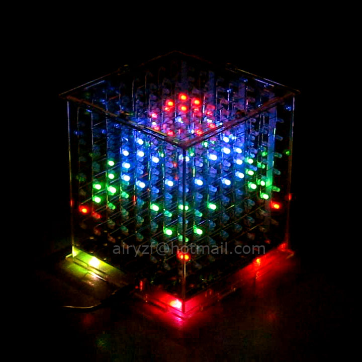 In stock! DIY 3D 8s multicolor  mini light cubeeds LED DIY KIT Excellent animation 3D8 8x8x8 display fun kit,Christmas Gift<br><br>Aliexpress