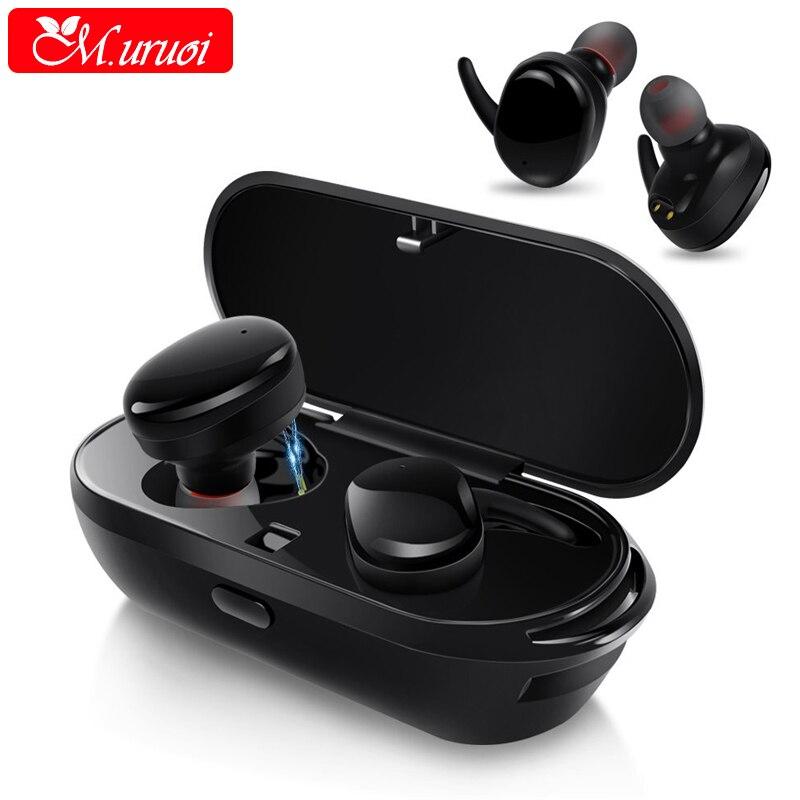 M.uruoi TWS True Earpiece Blutooth Earphone With Charging Socket Stereo Headset Waterproof Earbuds Portable Kulakl k With Mic<br>