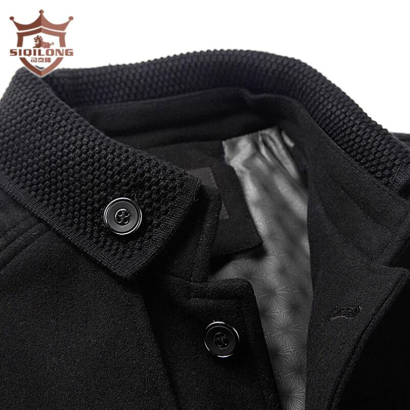 New 2017 men fashion wool blending coat casual mens winter jackets high quality black and grey outwear overcoat plus size M-3XL