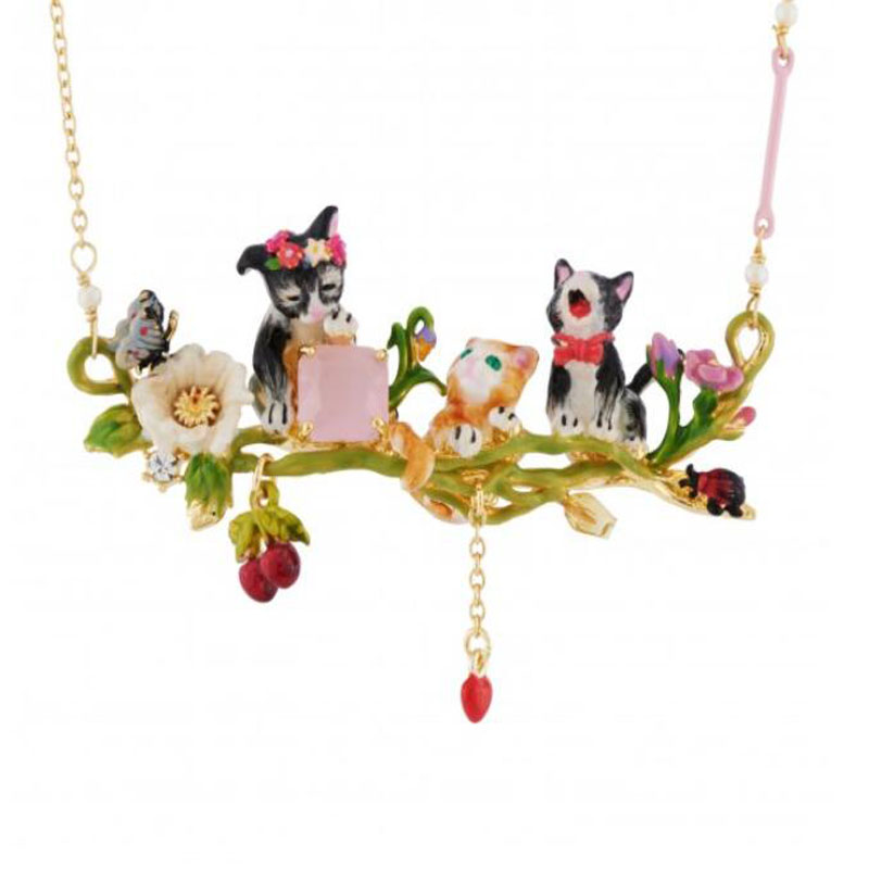2018 New Luxury Enamel Jewelry  Black yellow cute Three cat Pink gem necklace