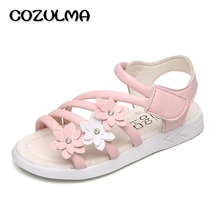 COZULMA Children Shoes Girls Roman Style Shoes Summer Girls Sandals Princess Three Flowers Little Kids Big Kids Princess Sandals
