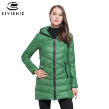 CIVICHIC Hot Sale Lady Zip Hooded Down Jackets Thick Mid Long Winter Warm Coat Padded Eiderdown Outer Wear Casual Clothing DC527