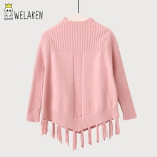 welaken 2017 New Autumn Winter Baby Girl Clothes Knitted Solid Color Tassel Sweaters Outerwear Warm Children Clothing(China)