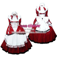 Hot Sale Custom Made Long Sleeve Princess Japanese Maid Outfit Gothic  PVC Dress Cosplay Party Set  Apron Costume
