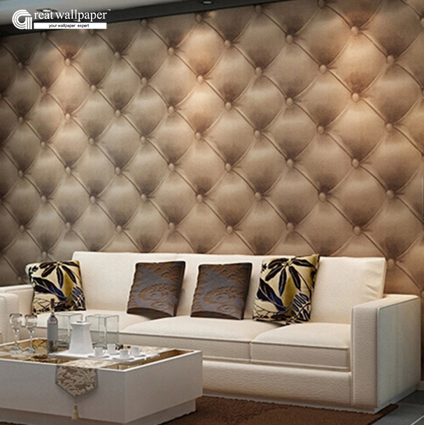 Great wall modern European style soft leather grain 3d wallpaper roll,imitation leather soft bag PVC wallpaper for walls<br>