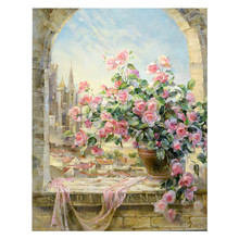 40x50cm With frame Window Flowers Scene DIY Painting By Numbers Kits paintings for living room wall Coloring By Numbers PD0038